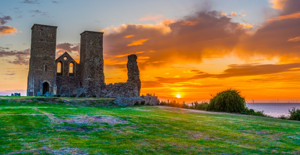 Reculver Towers at sunset by David Attenborough