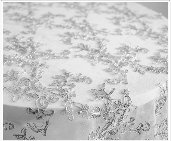 Silver thread lace for cake table - £10.00. Replacement value £50.00