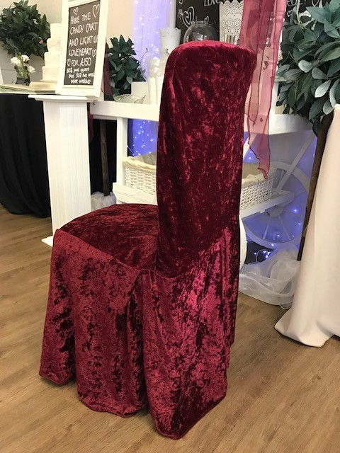 Burgundy crushed velvet cover £2 each, replacement value £10.00