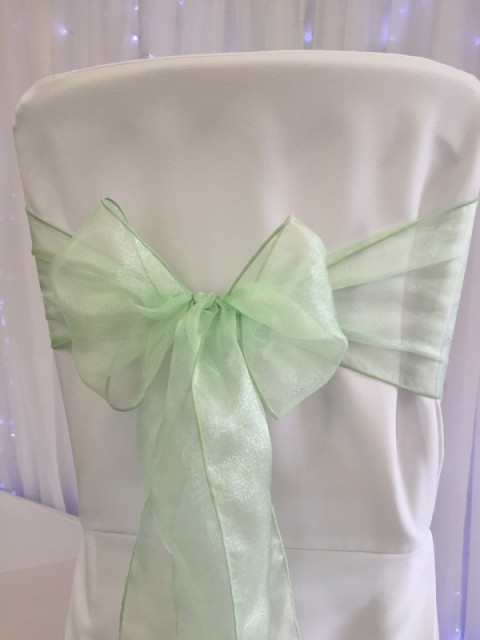 Mint green organza. Hire price £1. Replacement value £3 each.