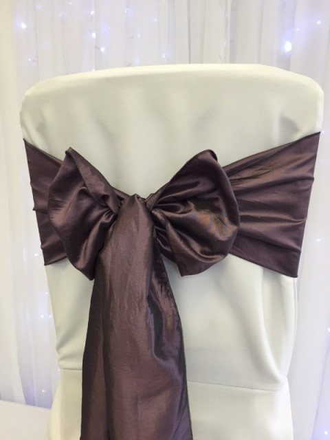 Heather taffeta. Hire price £1. Replacement value £5 each.