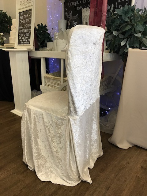 Ivory crushed velvet cover £2 each, replacement value £10.00
