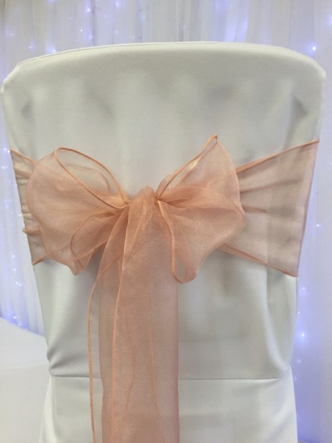 Rose gold organza. Hire price £1. Replacement value £3 each.