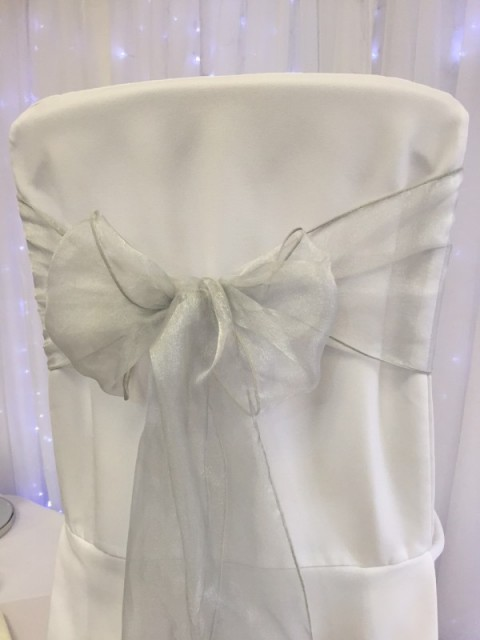 Light silver organza. Hire price £1. Replacement value £3 each