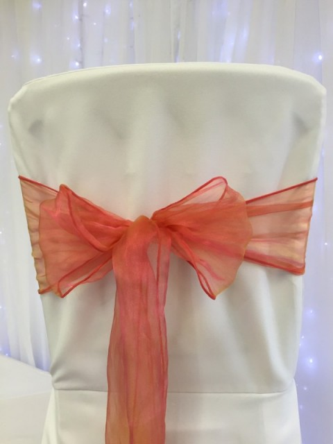 Tigerlily organza. Hire price £1. Replacement value £3 each.