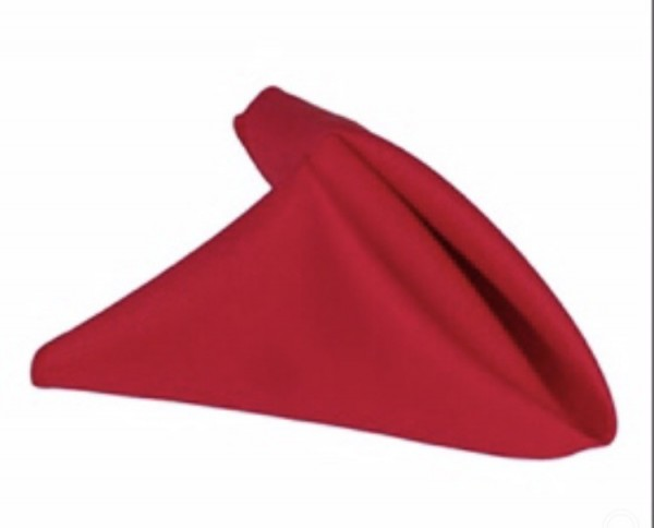 Red linen napkin. 70p to hire. Replacement value £3 each.