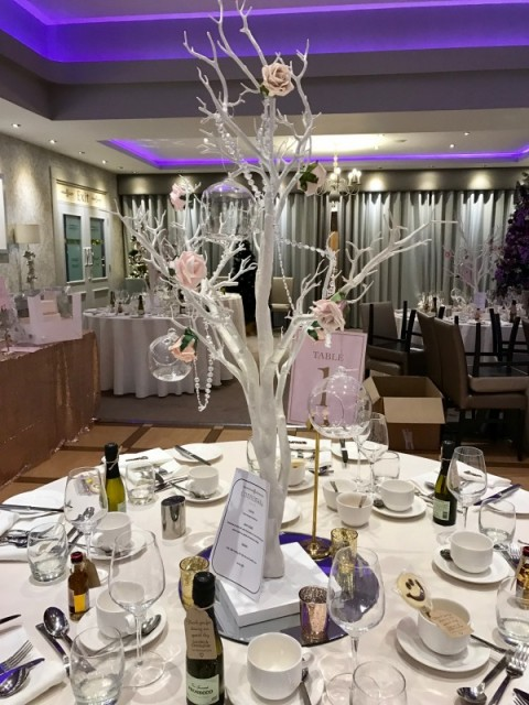 White tree decorated with blush roses, crystal chains and baubles, stands over 1m