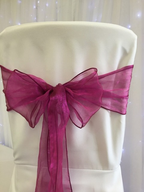 Thistle pink organza. Hire price £1. Replacement value £3 each