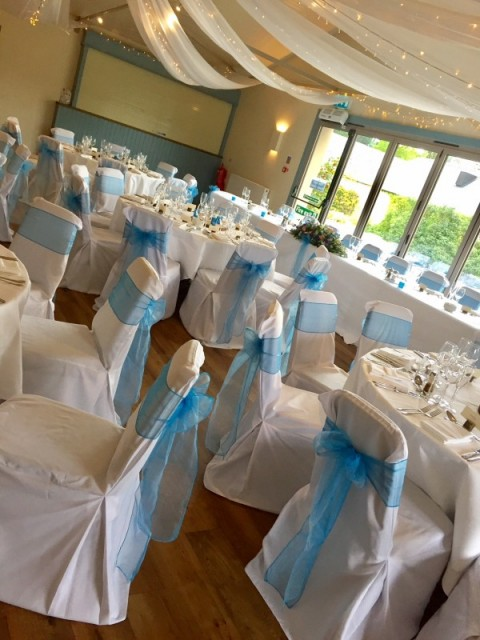 White hand ironed chair covers at Loch Lomond Arms