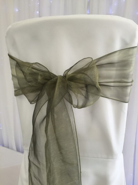 Olive green organza. Hire price £1. Replacement value £3 each.