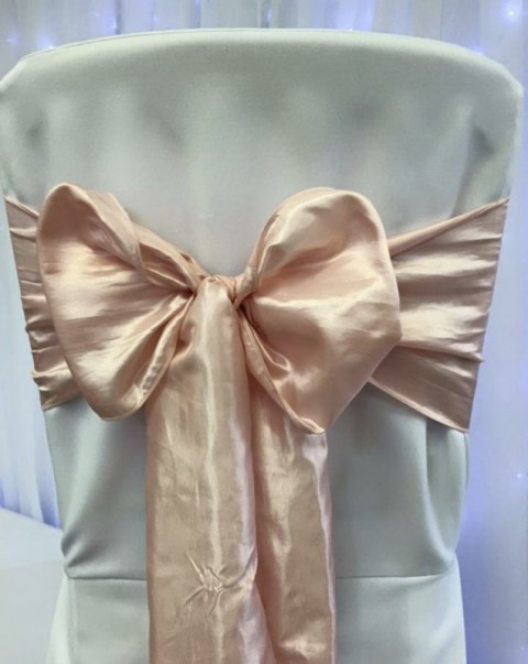 Rose gold satin. Hire price £1. Replacement value £4 each.