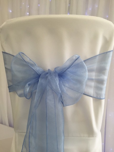 Periwinkle blue organza. Hire price £1. Replacement value £3 each.