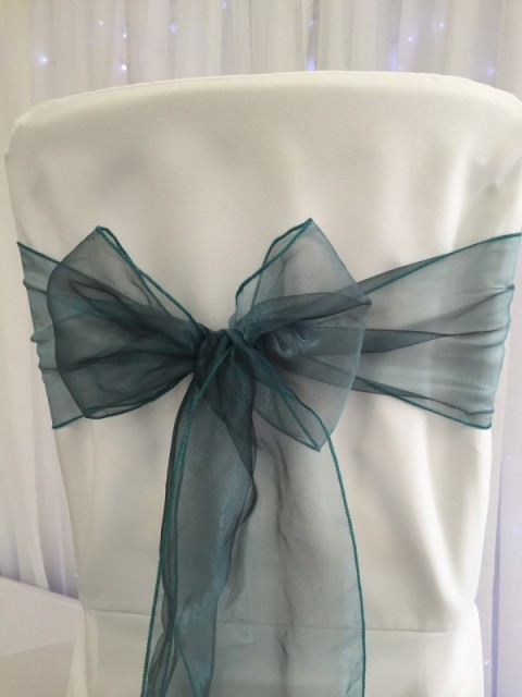 Original teal organza. Hire price £1. Replacement value £3 each.