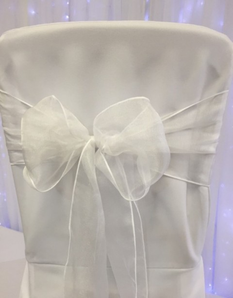 White organza. Hire price £1. Replacement value £3 each.