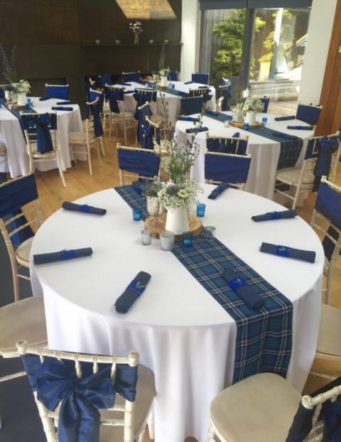 St Andrews tartan runner. £5 each to hire, replacement value £20.00