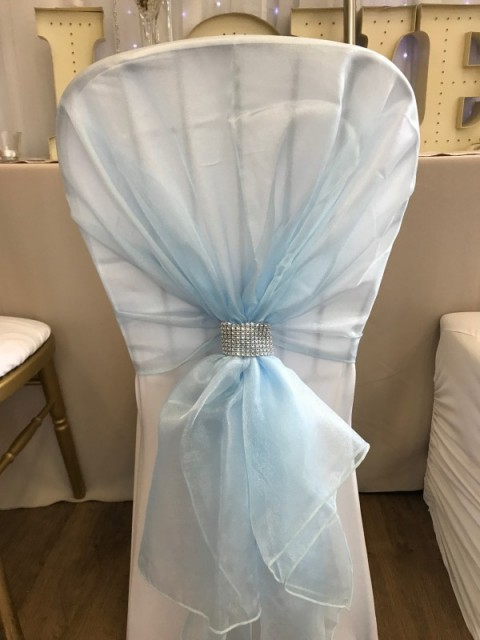 Baby blue organza hoods. £2.00 each, replacement value £10.00 each