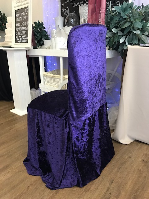 Purple crushed velvet cover £2 each, replacement value £10.00