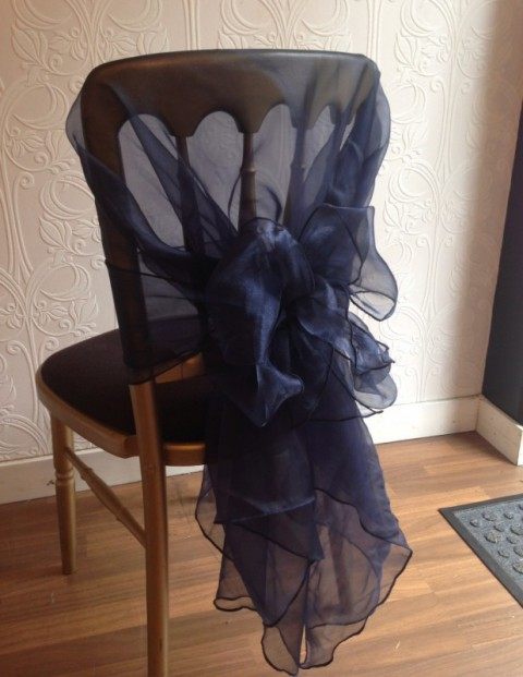 French navy organza hoods. £2.00 each, replacement value £10.00 each