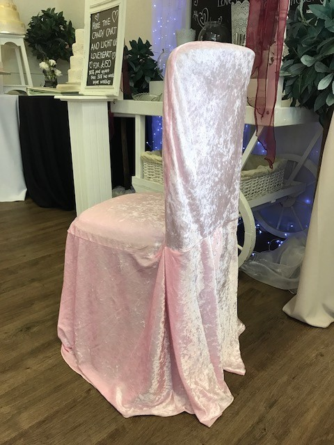 Baby pink crushed velvet cover £2 each, replacement value £10.00