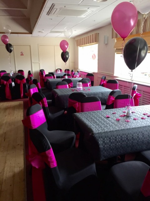 Black lycra chair covers. £2.50 including a sash. Replacement value £10 each.