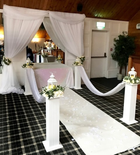 End of aisle decor with plinths