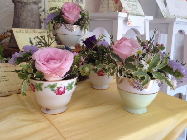 Tea cups - various patterns, can be hired for centrepieces or for drinking