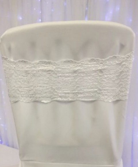 White lace band. £1 each to hire. Replacement value £4 each.
