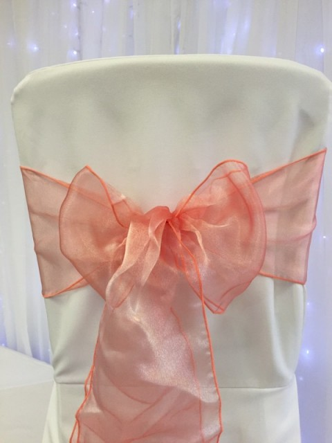 Coral organza. Hire price £1. Replacement value £3 each.