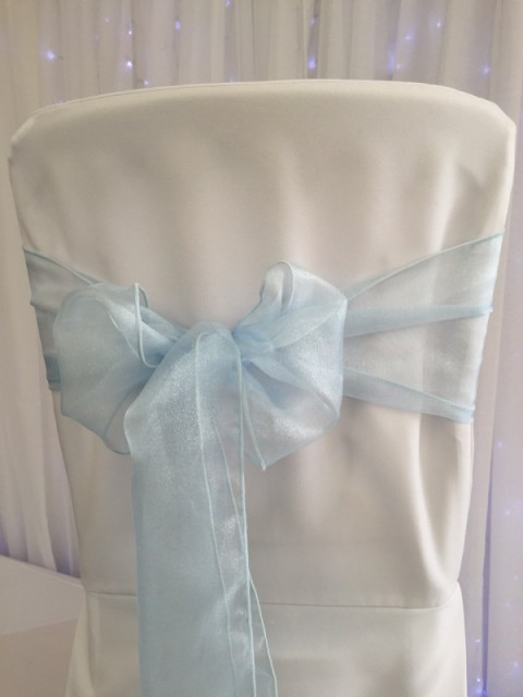 Light blue organza. Hire price £1. Replacement value £3 each.