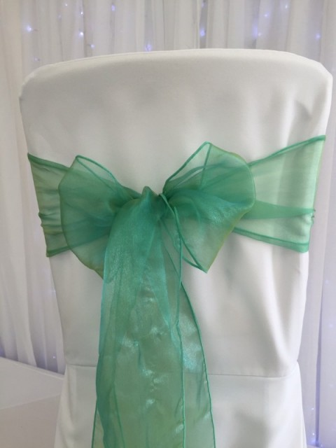 Jade green organza. Hire price £1. Replacement value £3 each.