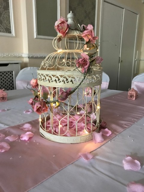 Large bird cage with microlights and pink garland