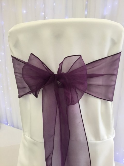 Plum organza. Hire price £1. Replacement value £3 each.