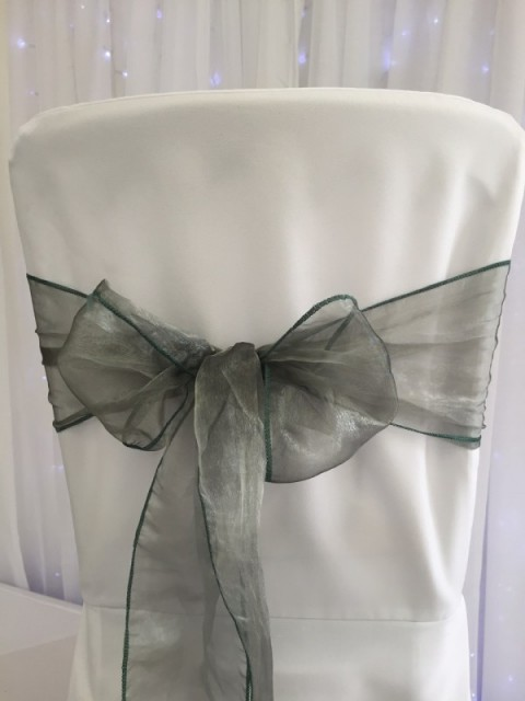 Sage green organza. Hire price £1. Replacement value £3 each.