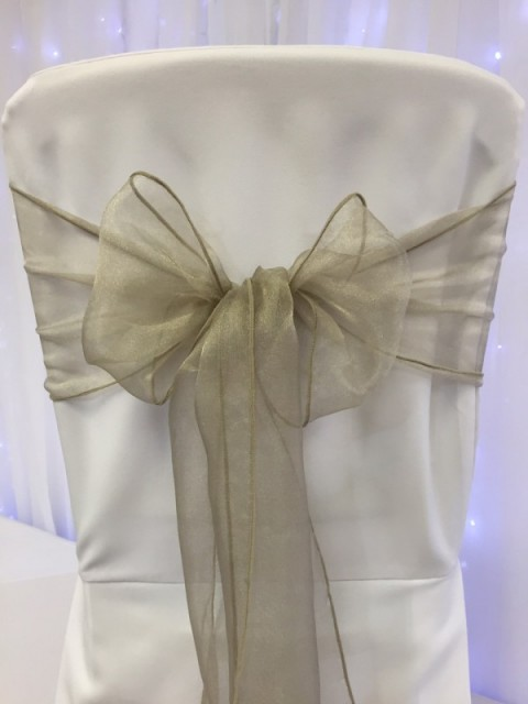 Oyster organza. Hire price £1. Replacement value £3 each.