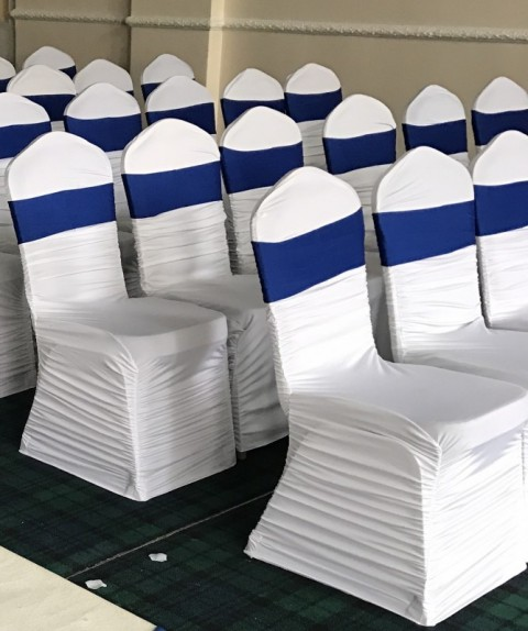 Ruched white chair covers