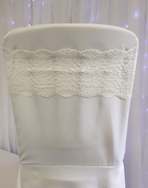 Ivory lace band. £1 each to hire. Replacement value £4 each.
