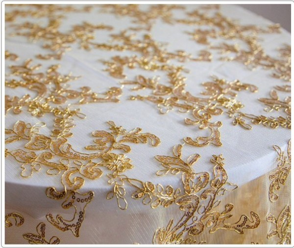 Gold thread lace for cake table - £10.00. Replacement value £50.00