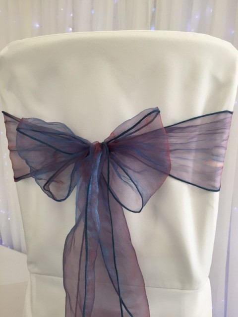 Teal garnet organza. Hire price £1. Replacement value £3 each.