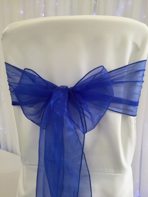Sapphire blue organza. Hire price £1. Replacement value £3 each.