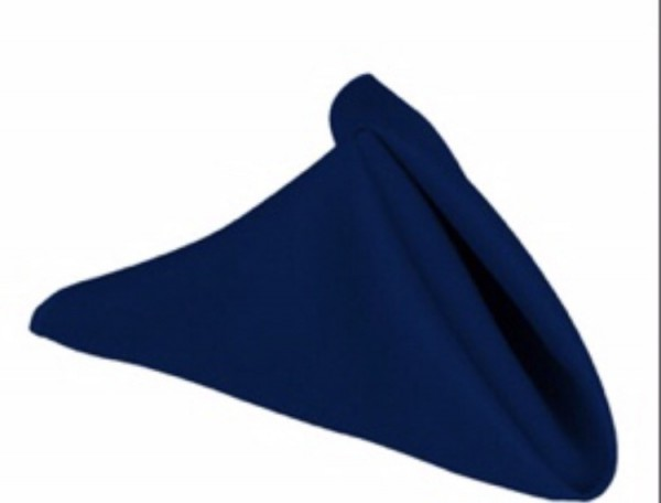 Navy blue linen napkin. 70p to hire. Replacement value £3 each