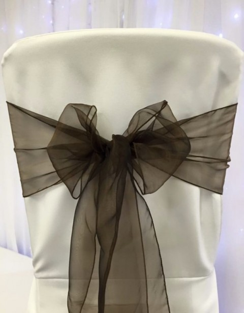 Chocolate organza. Hire price £1. Replacement value £3 each.