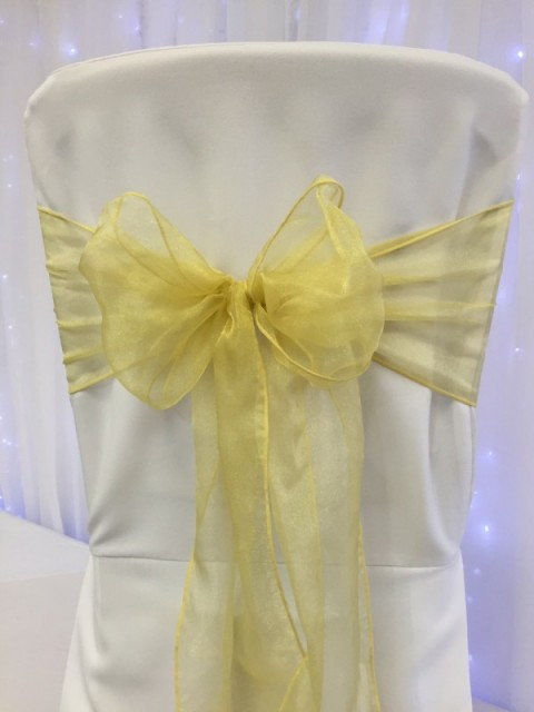 Bright gold organza. Hire price £1. Replacement value £3 each