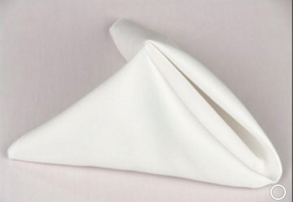 White linen napkin. 70p to hire. Replacement value £3 each.
