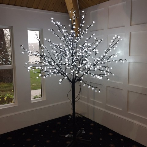 Cool white 7ft blossom trees - £75 for the pair, replacement value £250