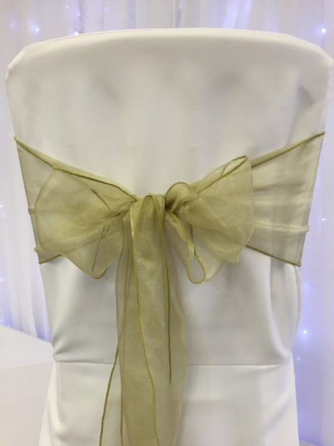 Antique gold organza. Hire price £1. Replacement value £3 each