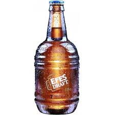 Efes Draught clear golden blond beer with high carbonation and medium white foam