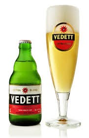 Vedett, a blond, light, well hopped premium beer with 5.2% alcohol content,
