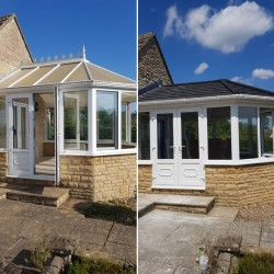 MRS MASON SELSLEY  POLYCARBONATE ROOF TO A SUPALITE WARM ROOF