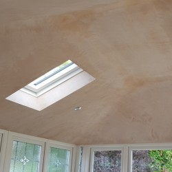 MR AND MRS MARSDEN HUCCLECOTE INTERNAL PLASTERED ROOF WITH CHROME DOWNLIGHTS