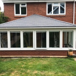 MR AND MRS EVANS  A CHANGE OF DESIGN TO GIVE A BETTER LOOK WITH THE FITTING OF A SUPLALITE ROOF